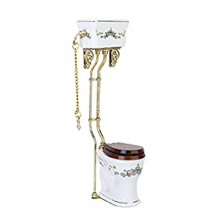 SODIAL(R) Vintage Victorian style bathroom porcelain toilet doll house miniature white + gold