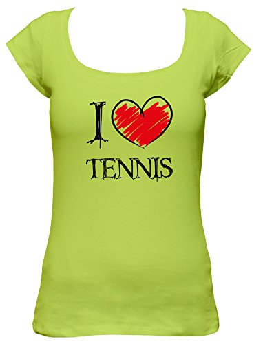 I love Tennis Fun Damen Boat Neck T-Shirt, Größe:XL;Farbe:mintgrün (Schläger Tennis Agassi)