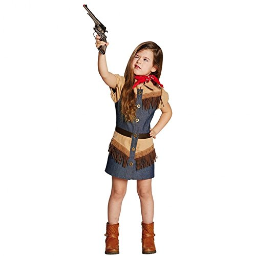 Kinderkostüm Cowgirl Gr. 116- 164 Mädchen Jeanskleid Fasching Western Kostüm (164) (Braunes Pferd Kind Kostüm)
