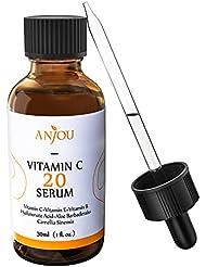 Anjou Suero De Vitamina C Para Cara, 20% De VC Con Ácido Hialurónico y Colágeno, Anti-envejecimiento y Anti-arrugas, Revertir El Daño Solar, Eliminar Las Manchas - 1 oz