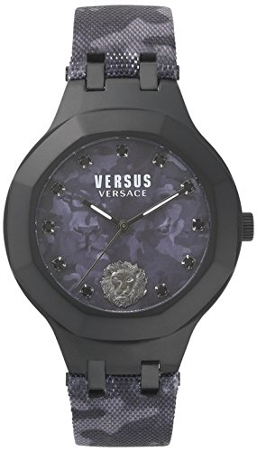Versus by Versace Damen Analog Quarz Uhr mit Leder Armband VSP350317 Camouflage Womens Hut