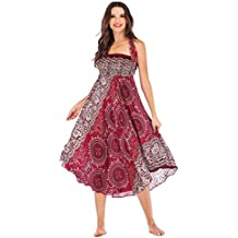 Jupe Femmes Hippie Boho Taille Elastique Robe de Plage Robe Ethnique Jupe  Dos Nu Gitan Jupe 9d5b7a82abf