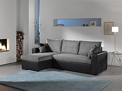 Bestmobilier - ORLANDO - Canapé d angle convertible réversible 4 places - 225 x 145 x 85cm Couleur - Noir / Gris