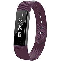 Fitness Tracker Smart Uhr mit Herzschlag Monitor Schritt Tracker Kalorienzähler Armband Wasserdicht Activity Tracker Schrittzähler für IOS Android Schwarz (Purple)
