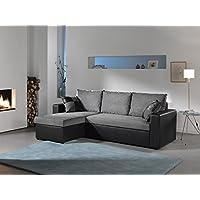 Bestmobilier ORLANDO - Canapé d angle convertible réversible 4 places - 225 x 145 x 85cm Couleur - Noir/Gris