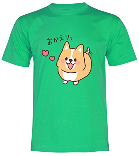 PALLAS Unisex's Corgi Lovely Cute Funny T-Shirt Green