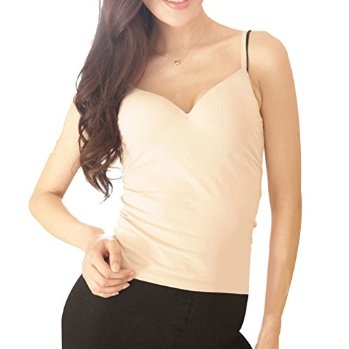 Zhhlinyuan Frau Women's Comfortable Shirt Bottoming T-shirt Sling Vest Tops with Chest Pad Nude