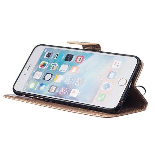 Cozy Hut Lover Dandelion Pattern Gemalt PU Leder Wallet Case Folio Schutzhülle für iPhone 6 Plus / 6S Plus (5,5 Zoll),Smartphone Handytasche Etui Schale Handy Tasche Flip Cover in PU mit Standfunktion golden