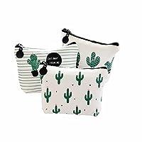 Wicemoon 3 Pcs Wallet Coin Bag Cactus Printing Bag Travel Bag Zipper Bag Pouch Storage Bag for Sanitary Towels