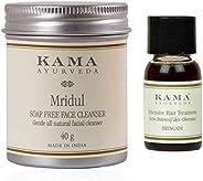 Kama Ayurveda Mridul Soap-Free Face Cleanser 40g, Bringadi Intensive Hair Treatment 8ml Combo