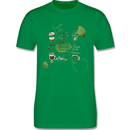 Statement Shirts - But first: Coffee Wasserfarben - Herren Premium T-Shirt Grün