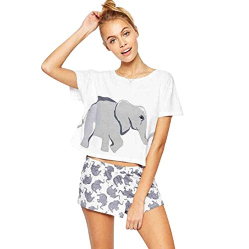 NiSengs Damen Kurzarm Crop Top Elefanten Drucken Sommer Loses T-Shirt Weiß S