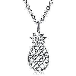 ARTLU® Regalo de plata esterlina 925 señoras lindas moda nueva personalidad colgante de piña pequeño collar