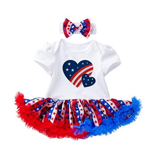 Amosfun American Independence Day Kurzarm Rock 4. Juli Kostüm Tutu Kleid Stirnband für Kinder Baby Kleinkind (12-24 Monate)