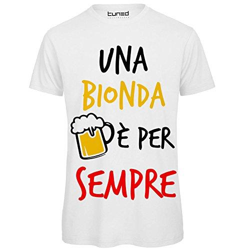 T-shirt divertente uomo maglietta addio al celibato una bionda è per sempre tuned, colore: bianco, taglia: s