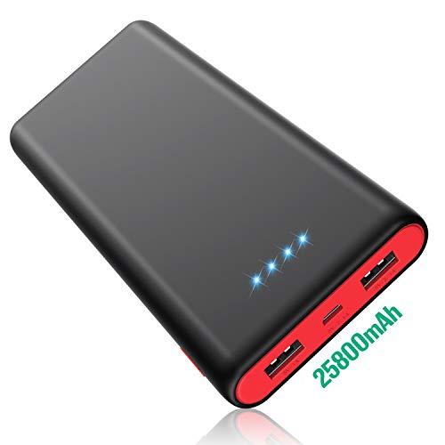 HETP [Noire et Rouge HX-Y8] Batterie Externe 25800mah Power Bank Chargeur Portable avec 2 USB Ports Sortie Chargement Simultané Batterie de Secours pour Tous Smartphones Tablettes