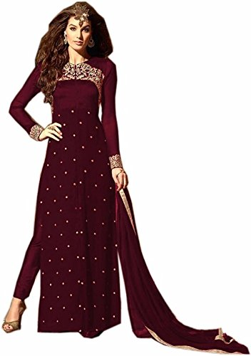 Stylefabs Women's Georgette Embroidered Straight Semi Stitched Salwar Suit with Dupatta -...