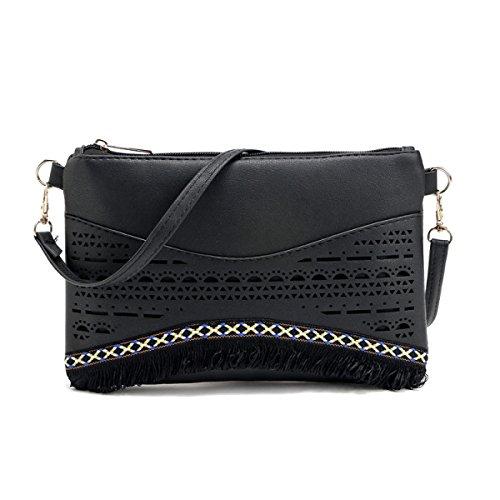 QPALZM Frau Beiläufige Quaste Kleine Quadratische Tasche Schulter Schräge Kreuzhandtasche Reißverschluss Schließen A6