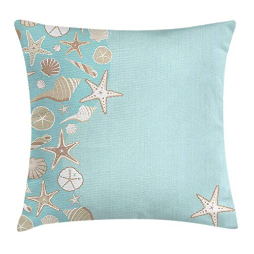 ushion Cover, Thin Lines and Various Creative Seashells Beach Party Theme, Decorative Square Accent Pillow Case, Seafoam Warm Taupe Grey Yellow White,16 X 16 Inches ()