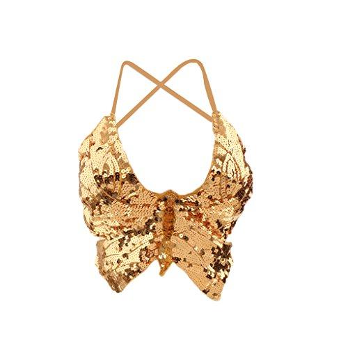 (Baoblaze Damen Bauchtanz BH Bra Kostüm Pailletten Oberteil Top Skirt - Gold)