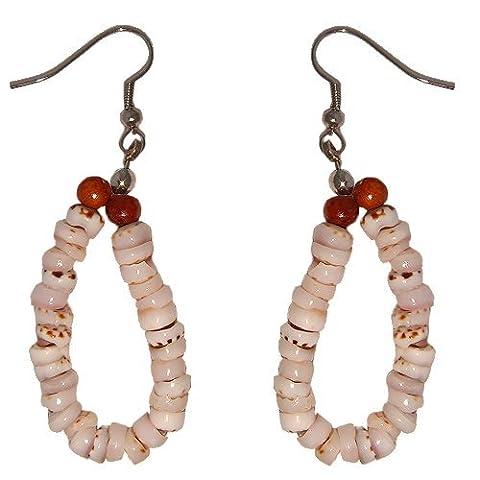 Hawaiian Tiger Puka Shell Hoop Earrings with Koa Wood Beads