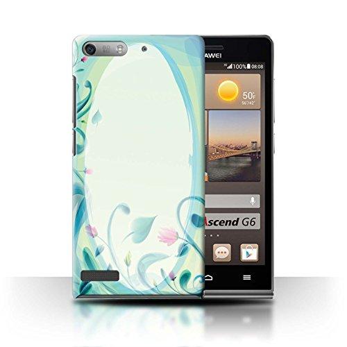 Stuff4 Hülle / Case für Huawei Ascend P6 Mini / Blume Leinwand/Jahrgang Muster / Teal Mode Kollektion (Mini-leinwand-tasche Kollektion)