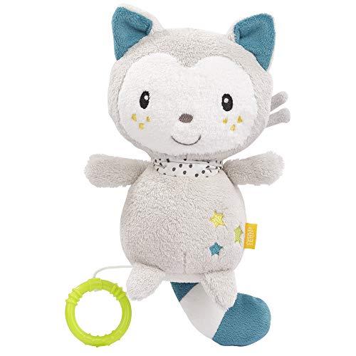 FEHN 057089 Spieluhr Katze / Kuscheltier & Einschlafhilfe: Aufzieh-Spieluhr mit sanfter Melodie beruhigt in jeder Situation - für Babys und Kleinkinder ab 0+ Monaten