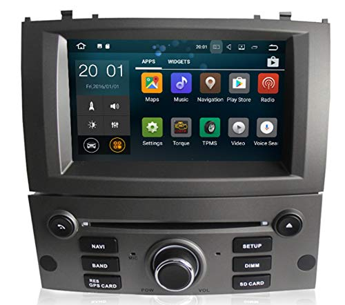 Sunshine Fly 7 Zoll Android 8.0 Quad core 1024 * 600 Kapazitiver Touchscreen 2 DIN DVD Navi Autoradio GPS Stereo Für Peugeot 407 2004-2010 Audio Player Bluetooth FM AM Hotspot WiFi 3G SWC (Silber) 3g Stereo