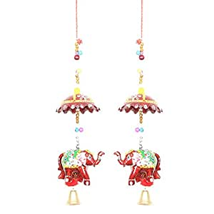 APKAMART Hand Crafted Rajasthani Latkan Pair - Elephant Design - Traditional Hangings for Wall Decor, Room Decor, Home Decor and Gifts