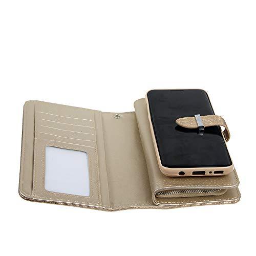FLY HAWK Leder Handytasche Handy Case Hülle Schale Hülle Cover Schutzhülle für Samsung Galaxy S8/S9 [Galaxy S8/S9 Plus] Wallet Kreditkartenetui Geldklammer Geldbörse Geldbeutel