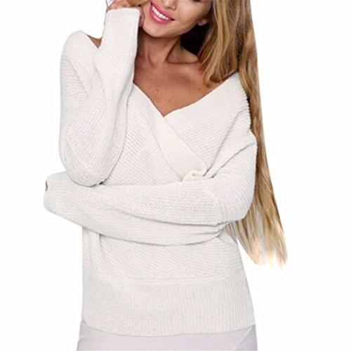 QIYUN.Z Femmes V-Neck Hors Épaule Automne Chandails Tricotés À La Mode Blanc