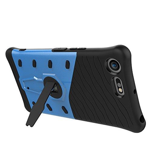 Dual Layer PC + Soft TPU Armor Defender Case Heavy Duty Vollschutz 360 ° Drehbarer Stand Shockproof (Stoßdämpfung) Cover für Sony Xperia XZ Premium ( Color : Black ) Blue