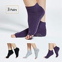 Ausun Calcetines Yoga Pilates Antideslizantes Mujer, 3 pares Fitness Calcetines, Socks para Barra y Ballet, talla 5 a 10