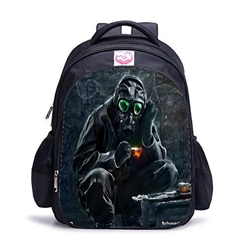 Canvas Schulrucksack für Jungs Schultasche Kinder Rucksack Resident Evil Büchertaschen Jungen Rucksack für die Schule 45 * 14 * 30 cm,O