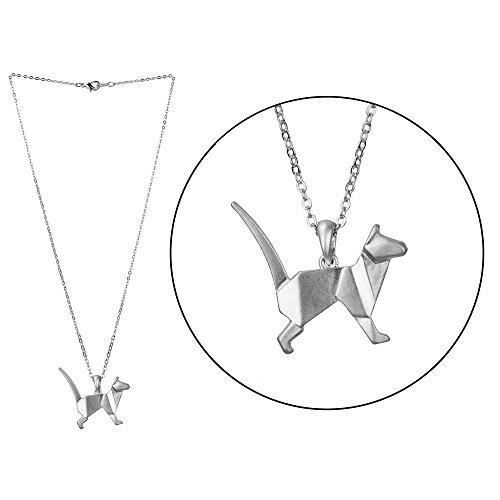 Halskette Fantasie aus versilbertem Metall - Katze stehend in der Luft in Origami
