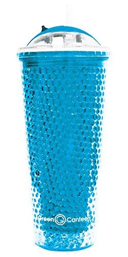 Grün Kantine 16Unze Perlen gefrierergeeignet Gel Cold Drink Tumbler, plastik, blau, 1 Stück - Vakuum-versiegelt Mug Travel