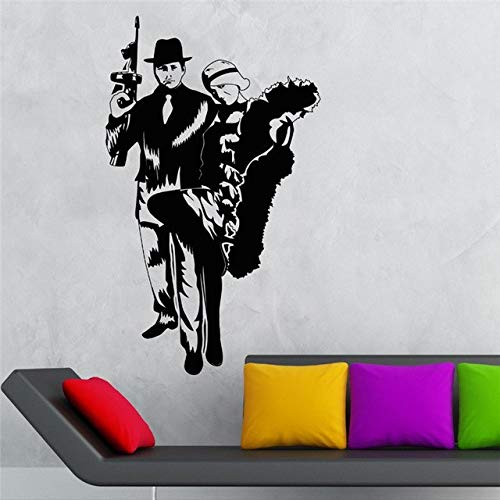 Stycars® Wall Sticker, Cool Vinyl Decal Gangster Sexy Girl Mafia Gun Kids Room Home Decor Living Room Removable Art Decals [Size: 42x74 CM]