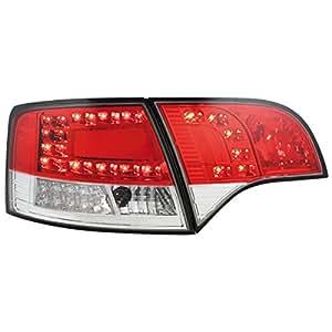 Dectane RA16SLRCL Lot de 2 feux arrière LED pour Audi A4 Avant B7 entre 2004 et 2008 avec clignotant (Rouge/cristal)