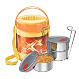 Milton Lunch Box for Office Econa Delux 3 Container Hot (Yellow)(780 ml)