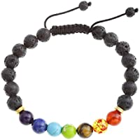 JOVIVI 7 Chakra Lava-Armband 8MM Stein Energietherapie Yoga-Armband Armreif Balance Buddha-Armband Geflochte Armband preisvergleich bei billige-tabletten.eu