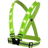 boyovo Reflektierende Weste für bessere Sichtbarkeit alle Tag und Nacht mit Notfall Identifizierung Label,, 3Modi USB aufladbare LED Light, voll verstellbar & Mehrzweck: Laufen, Radfahren, Motorrad Sicherheit, Hund zu Fuß–Neon Grün
