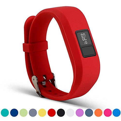 Correa de repuesto para Garmin Vivofit 3 – accesorios iFeeker de silicona suave con hebilla de metal, soporte, funda y bolsa para Garmin Vivofit Fitness inalámbrico 3 y rastreador de actividad., rojo