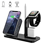Carpuride Supporto Caricabatterie Wireless 4 in 1 Caricatore Stand per Apple Watch, iPhone e Air Pods Compatibile con Apple Watch 5/4/3/2/1 AirPods e iPhone 11/11 pro/11 Pro MAX/XS MAX/XR/X/8 Plus