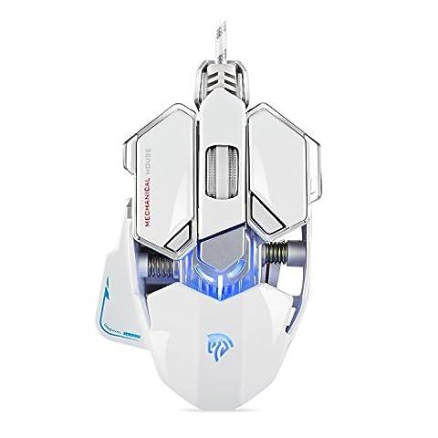 [ Dernière Souris Gamer ] EasySMX Optique USB Souris Gamer Ailes de Combattant avec 4800 DPI 10 Programmables Boutons Souris Gaming Filaire LED RGB Respiration pour Professional Gamer Compatible avec PC et Laptop(Blanc)