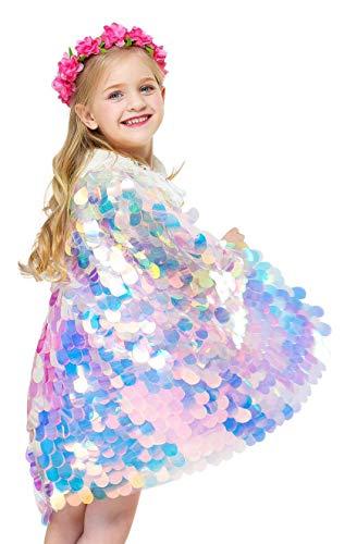 About Time Co Mädchen Meerjungfrau Cape Prinzessin Pailletten - Rosa Meerjungfrau Cape Kostüm