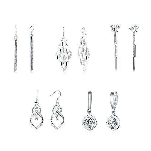 Lot de 5 paires de boucles d'oreilles pendantes à crochet et poussettes en argent 925 pour femme adolescent et petite...