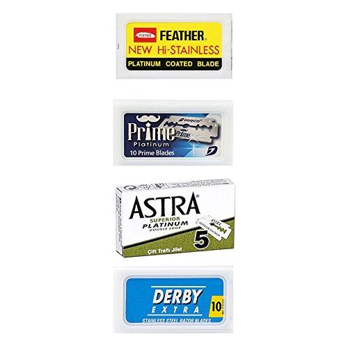 35 Lamette da barba Feather New Hi Stainless - Astra Superior Platinum - Dorco Prime - Derby Blu