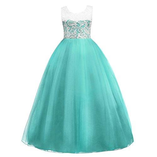 IBTOM CASTLE Mädchen Lange Spitzenkleid Tüllkleid Blumenspitze Kleid Hochzeit Partykleid Brautjungfern Abendkleider Blumenmädchenkleider Türkis 5-6 Jahre