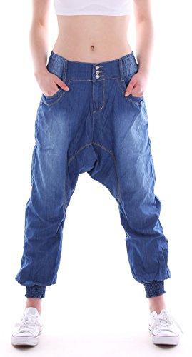 Harem Damen Jeans (Damen Aladin Jeans Hosen Harem Boyfriend Hüfthose Baggyhose Baggy blau Damenjeans Damenhose Jeanshose Hüftjeans Pump Pluderhose Pluder Pumphose Pump Haremshose Harems Yogahose Size Gr Größe S 36)
