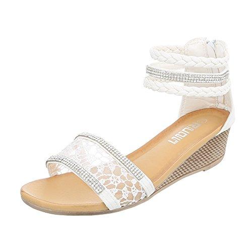 Keilsandaletten Damenschuhe Plateau Keilabsatz/ Wedge Keilabsatz Reißverschluss Ital-Design Sandalen / Sandaletten Weiß